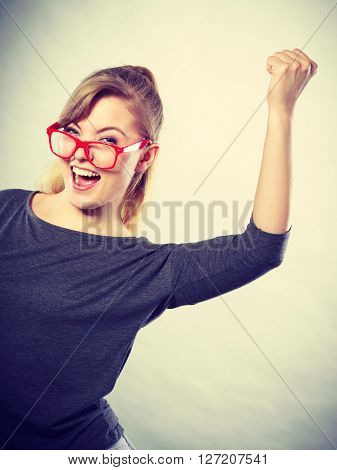Independent woman just got new job. Celebrate the huge success.