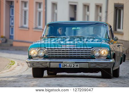 ALTENTREPTOW MECKLENBURG- WEST POMERANIA - MAY 2015: american chevrolet car on an oldtimer show in altentreptow germany at may 2015.