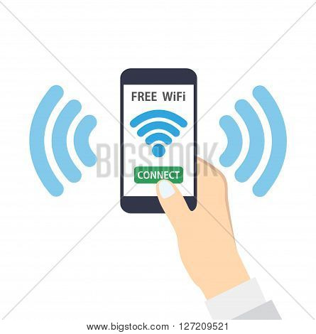 Hand holding smartphone with free wifi wireless connection
