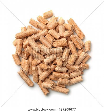 Top view of wooden pellets isolated on white