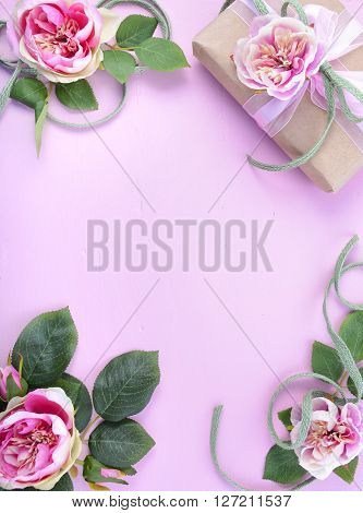 Feminine Background With Gift And Silk Roses