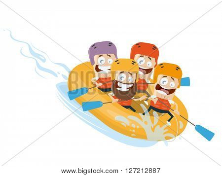river rafting cartoon clipart vector