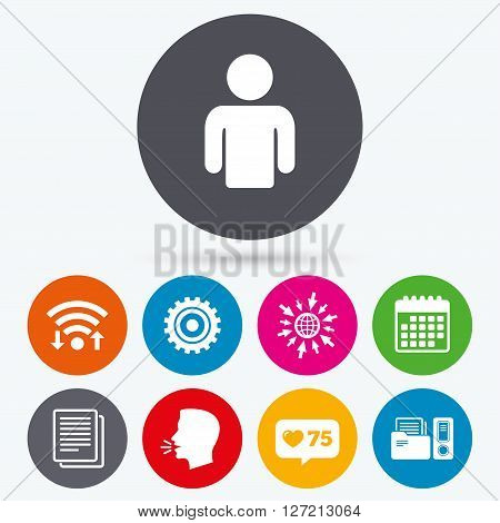 Wifi, like counter and calendar icons. Accounting workflow icons. Human silhouette, cogwheel gear and documents folders signs symbols. Human talk, go to web.
