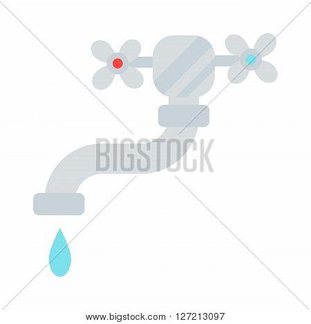 Washbasin domestic ceramic object and wash basin for washing hands vector. Washbasin bathroom cartoon flat vector illustration. Bath metal tool