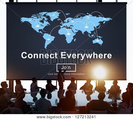 Connect Everywhere Globalization Interconnection Communication Concept