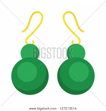 Green earrings beautiful gold accessory isolated. Emerald elegant earrings on background. Luxury emerald earrings decoration. Glamour vector earrings isolated