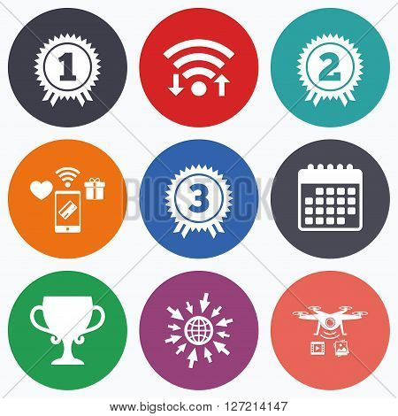 Wifi, mobile payments and drones icons. First, second and third place icons. Award medals sign symbols. Prize cup for winner. Calendar symbol.