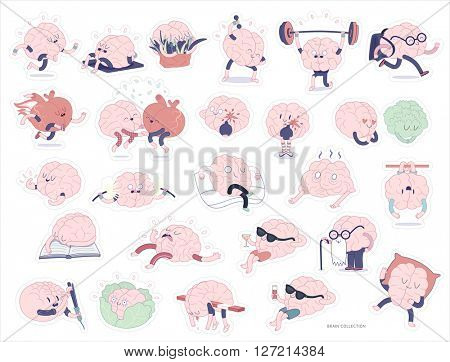 Brain stickers printable set, cartoon vector isolated images with cutting path, a part of Brain collection