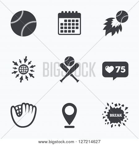 Calendar, like counter and go to web icons. Baseball sport icons. Ball with glove and two crosswise bats signs. Fireball symbol. Location pointer.