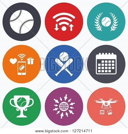 Wifi, mobile payments and drones icons. Baseball sport icons. Ball with glove and two crosswise bats signs. Winner award cup symbol. Calendar symbol.