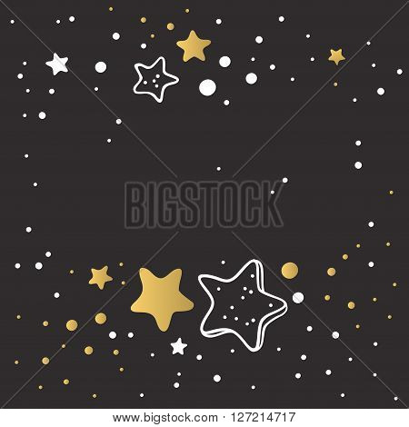 Abstract Xmas golden star background design wallpaper space graphic art vector illustration. Golden abstract star background with drops and light texture star background. Shiny star background pattern