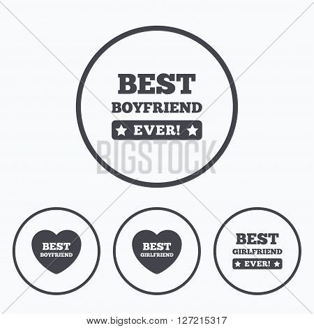 Best boyfriend and girlfriend icons. Heart love signs. Award symbol. Icons in circles.
