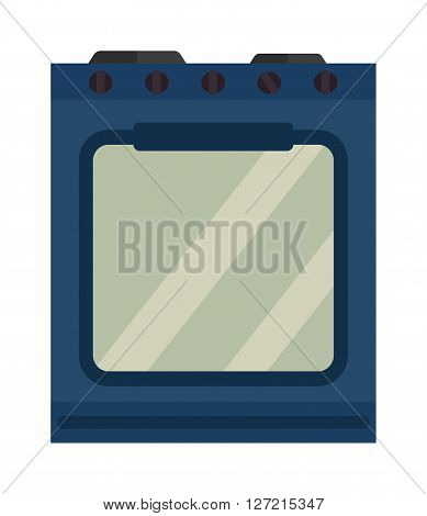 Blue kitchen stove appliance home cooking interior domestic stainless metal equipment flat vector illustration. Hot luxury kitchen stove and modern kitchen stove clean real estate design.