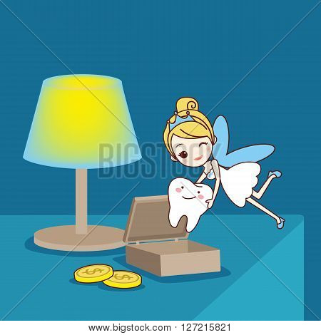 cartoon Baby tooth with tooth fairy in the room great for health dental care concept