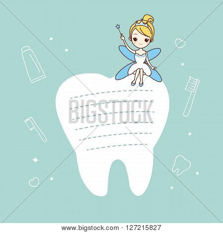 cartoon tooth note with tooth fairy great for dental care concept