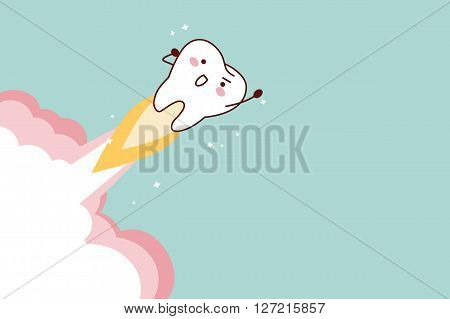 cartoon tooth rocket flying into sky great for dental care concept