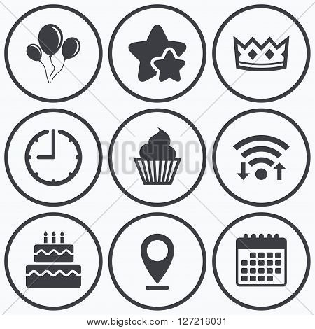Clock, wifi and stars icons. Birthday crown party icons. Cake and cupcake signs. Air balloons with rope symbol. Calendar symbol.
