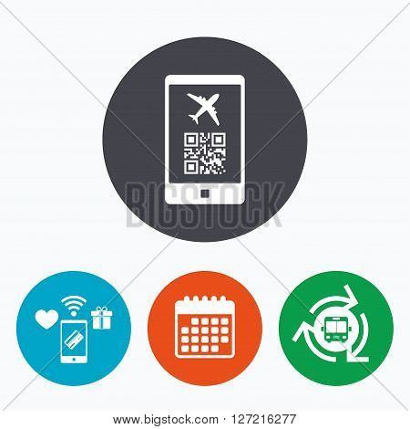 Boarding mobile pass flight sign icon. Airport ticket on smartphone symbol. Mobile payments, calendar and wifi icons. Bus shuttle.