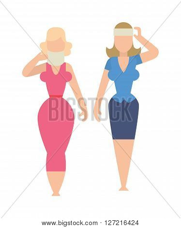 Sisters flat best friends cheerful girl student together female friendship vector illustration flat design. Sisters flat people girl and together sisters flat. Two sisters flat character.
