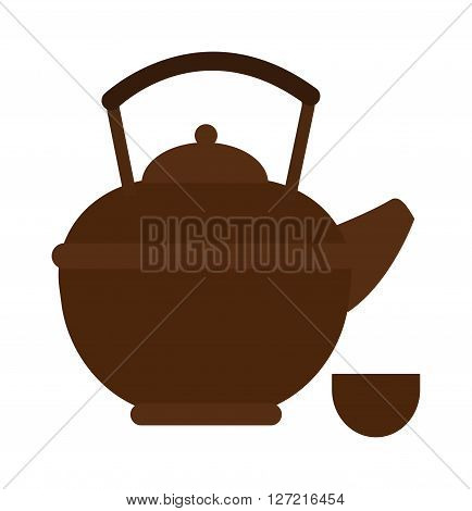 Kettle drink and handle kettle. Kettle electric, appliance hot boil domestic kettle icon. Flat appliance hot kettle electric equipment. Stovetop whistling kettle kitchen teapot flat vector.
