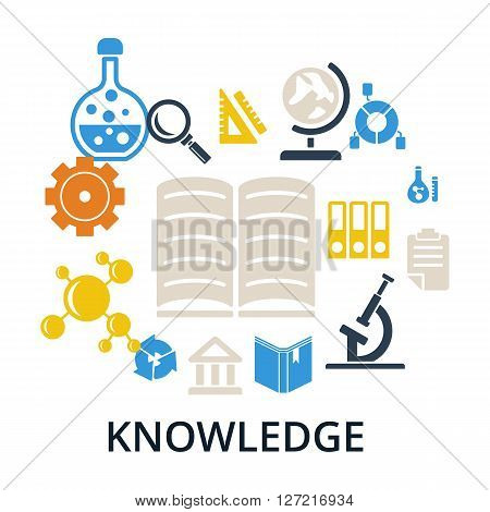 Knowledge concept. Open book and icons of science. Set of vector knowledge icons and books isolated on white.