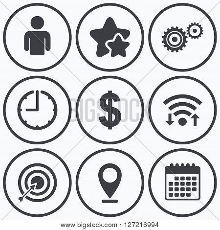 Clock, wifi and stars icons. Business icons. Human silhouette and aim targer with arrow signs. Dollar currency and gear symbols. Calendar symbol.