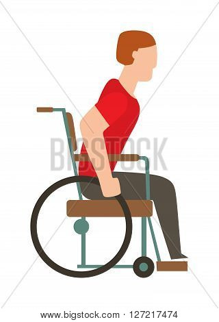 Man in wheelchair invalid disabled help chair vector flat illustration. Disabled invalid chair and medical invalid chair transportation. Human invalid chair handicap equipment assistance transport.