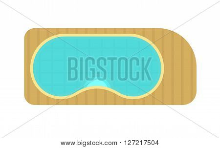 Swimming pool top view blue water spa leisure relaxation holiday travel vector illustration. Swimming pool top view wave sport and resort swimming pool top view luxury lifestyle tropical outdoor.