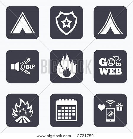 Mobile payments, wifi and calendar icons. Tourist camping tent icons. Fire flame sign symbols. Go to web symbol.