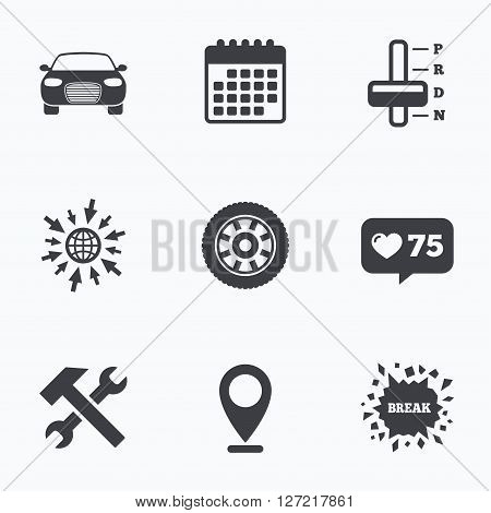 Calendar, like counter and go to web icons. Transport icons. Car tachometer and automatic transmission symbols. Repair service tool with wheel sign. Location pointer.
