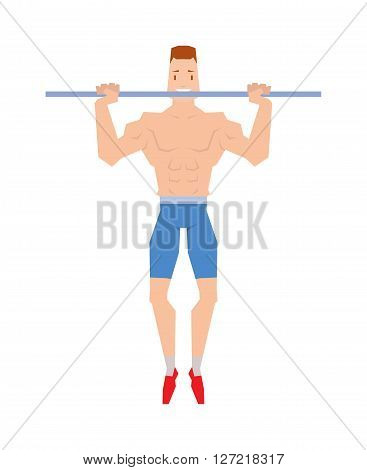 Street workout sport, exercising, training and lifestyle concept - young man doing abdominal exercise on horizontal bar vector. Handsome muscular young man street workout and athletic street workout.