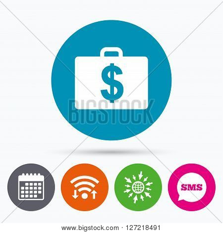 Wifi, Sms and calendar icons. Case with Dollars USD sign icon. Briefcase button. Go to web globe.