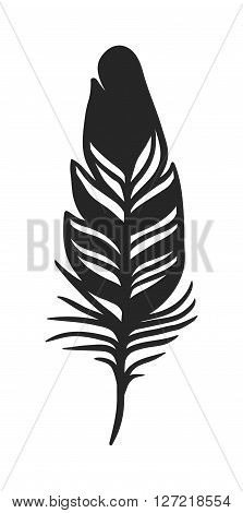 Hand drawn stylized feather black color and doodle tribal ornamental black feather. Feather isolated icon. Black feather nature bird symbol. Rustic decorative black feather doodle vintage art