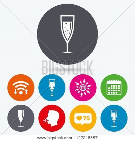 Wifi, like counter and calendar icons. Champagne wine glasses icons. Alcohol drinks sign symbols. Sparkling wine with bubbles. Human talk, go to web.