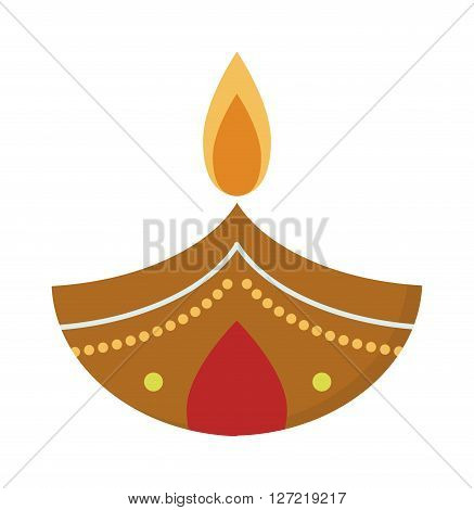 Vector illustration traditional celebration happy diwali candle festival lamp celebration decoration. Diwali candle decoration and traditional diwali candle. Hindu religious culture diwali symbol.