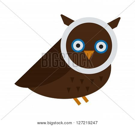 Owl wild bird and nature cartoon owl. Owl blue flat bird character predator flying animal. Great horned Owl, bubo virginianus subarcticus flat cartoon wildlife nature bird vector illustration.