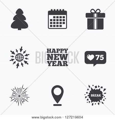 Calendar, like counter and go to web icons. Happy new year icon. Christmas tree and gift box signs. Fireworks explosive symbol. Location pointer.