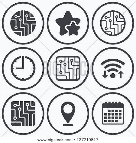 Clock, wifi and stars icons. Circuit board icons. Technology scheme circles and squares sign symbols. Calendar symbol.