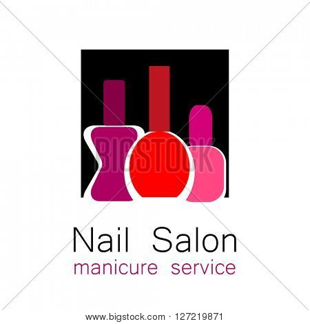 Nail Salon logo. Symbol of manicure. Design sign - nail care. Beauty industry, nail salon, manicure service, spa boutique, cosmetic products. Cosmetic label.