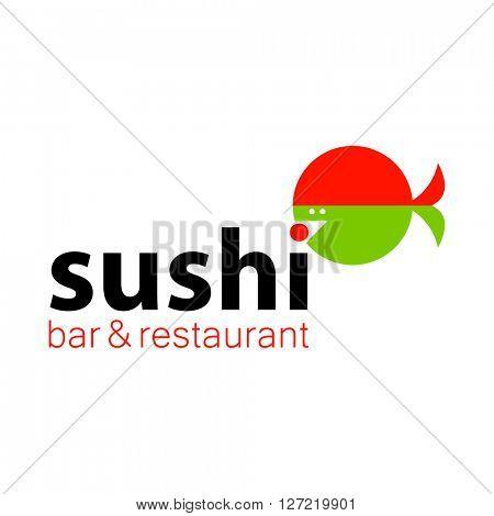 Sushi logo. Sushi bar restaurant design element, badge, label, icon. Illustration.