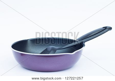 Non stick frying pan on white background stock photo