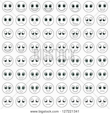 monochrome white set of emoticons happy vector illustration