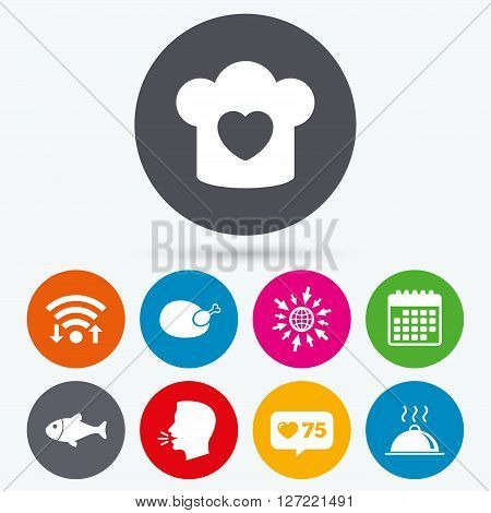 Wifi, like counter and calendar icons. Chief hat with heart and cooking pan icons. Fish and chicken signs. Hot food platter serving symbol. Human talk, go to web.
