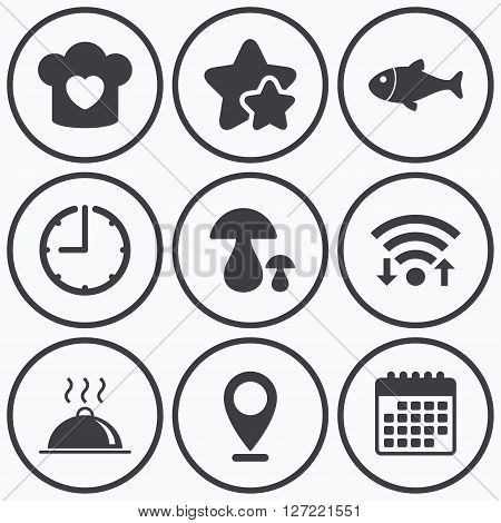 Clock, wifi and stars icons. Chief hat with heart and cooking pan icons. Fish and boletus mushrooms signs. Hot food platter serving symbol. Calendar symbol.