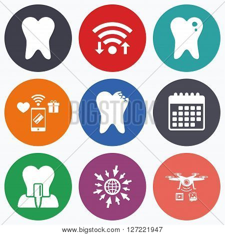 Wifi, mobile payments and drones icons. Dental care icons. Caries tooth sign. Tooth endosseous implant symbol. Calendar symbol.