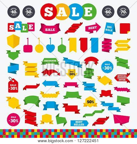 Banners, web stickers and labels. Sale discount icons. Special offer stamp price signs. 40, 50, 60 and 70 percent off reduction symbols. Price tags set.