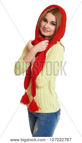 girl dressed red woolen cap and scarf posing in studio on white background