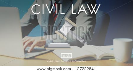 Civil Law Court Judge Justice Legal Fairness Gavel Concept