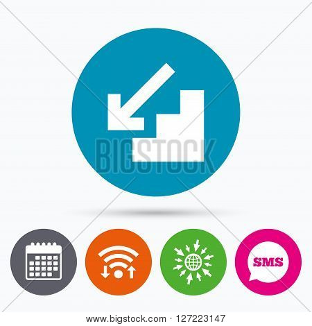 Wifi, Sms and calendar icons. Downstairs icon. Down arrow sign. Go to web globe.