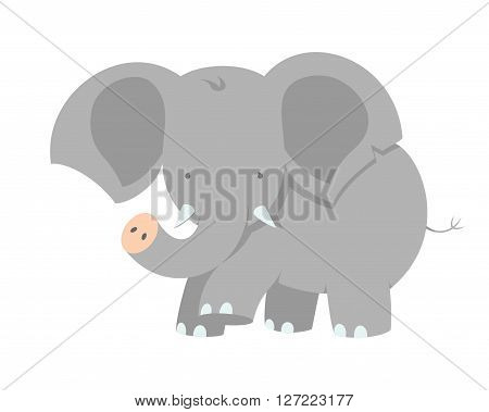 Baby Elephant. Vector Illustration Of A Cute Little Baby Elephant